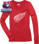 Женская кофта Детройт Ред Уингз / Detroit Red Wings Women's Red Majestic Threads Tri-Blend Long Sleeve T-Shirt