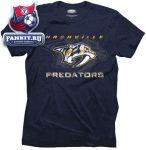 Футболка Нэшвилл Предаторз / Nashville Predators Majestic Threads Navy Blue Team Crest Tri-Blend T-Shirt