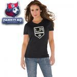 Женская футболка Лос-Анджелес Кингз / Los Angeles Kings Women's New Primary Logo Tri Blend V Neck T-Shirt- by Alyssa Milano