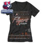 Женская футболка Филадельфия Флайерз / Philadelphia Flyers Women's Black Fair Isle Girl Tri-Blend V-Neck T-Shirt